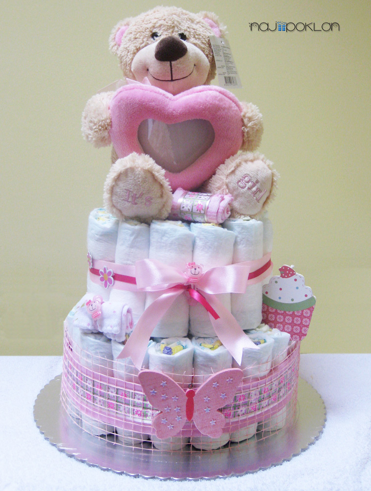 torta od pelena sa plisanim medom za devojcicu poklon za bebu. Black Bedroom Furniture Sets. Home Design Ideas